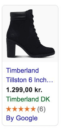 Product placement ad PLA showing an image of black boots
