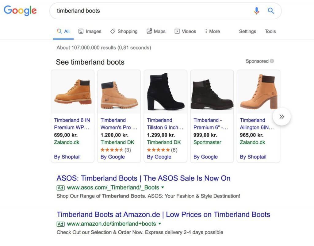 Product Placement Ads and Text Ads on Google's SERP.