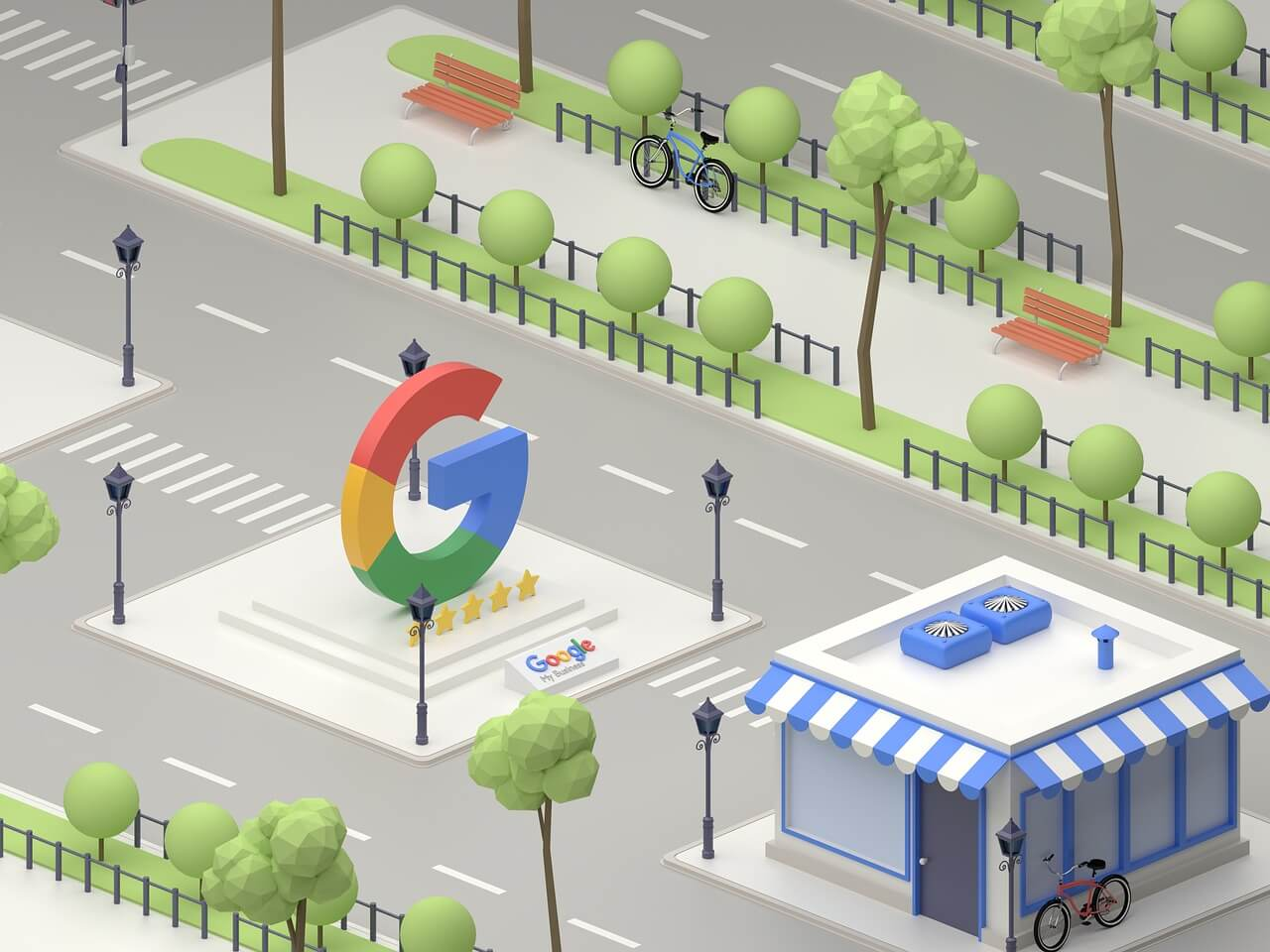 Illustration showing Google Ads PPC office
