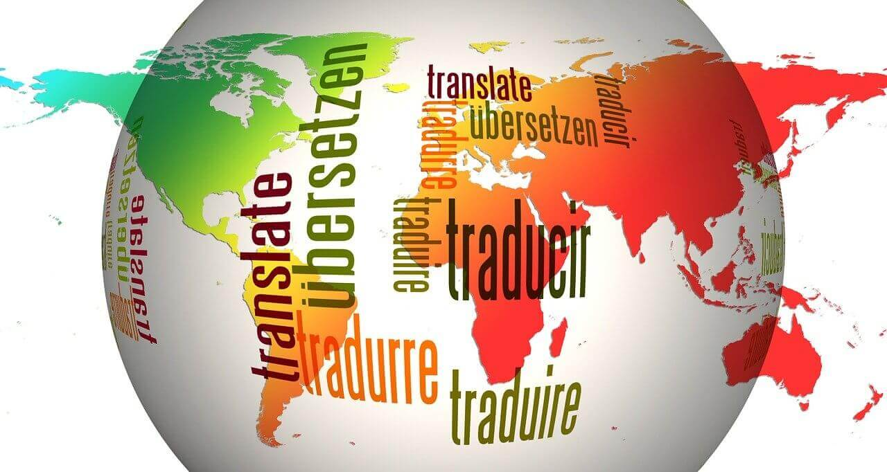 The word Translate in different languages on the globe