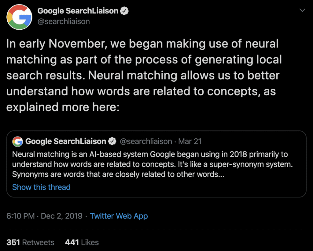 Google Search Liaison Tweet Neural Matching