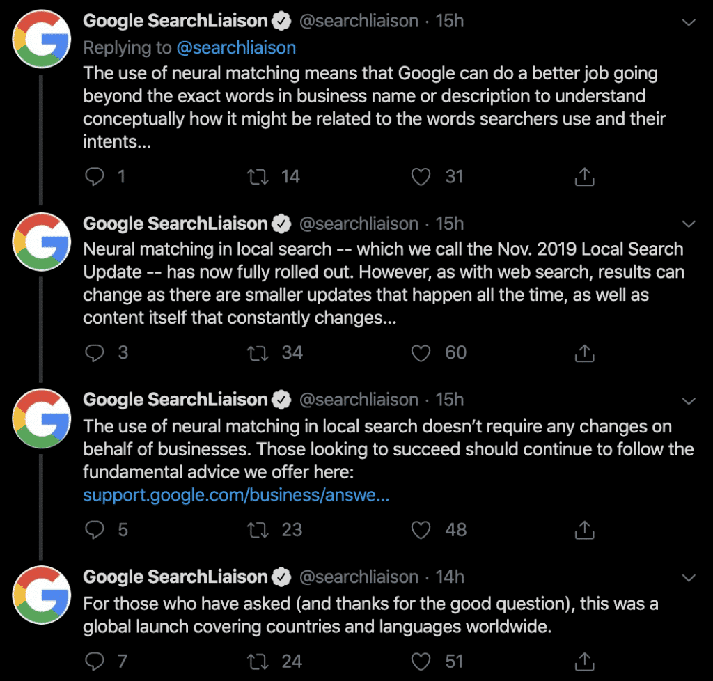 Google Search Tweet Neural Matching